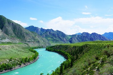 Landscape with the Katun river in Altay mountains