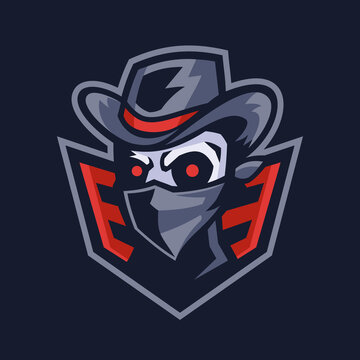 villain Skull bandit mascot logo design
