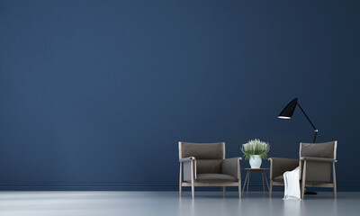The beautiful Modern cozy mock up interior design of living room and blue texture wall background