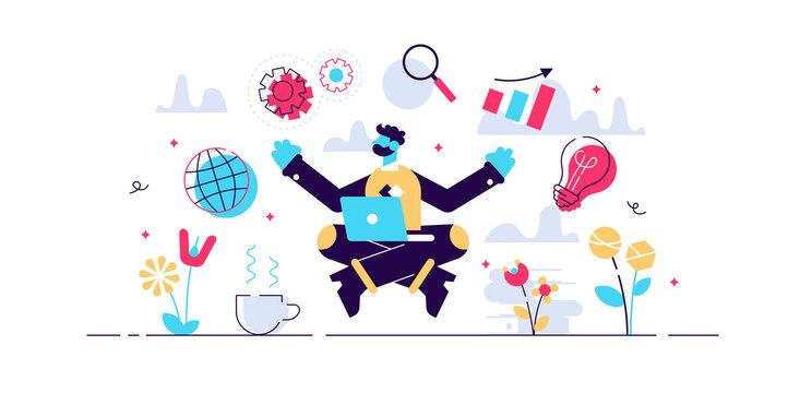 Business internet guru concept, flat tiny