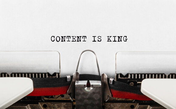 Text Content is King typed on typewriter