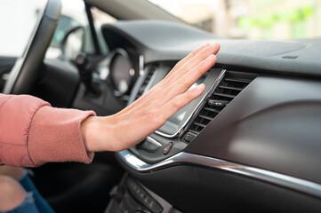 The air conditioning button inside a car. Car interior. Car air condition.