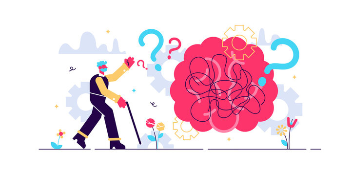 Dementia health disorder flat tiny