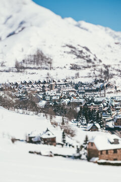 Snowy village in the Spanish Pyrenees.