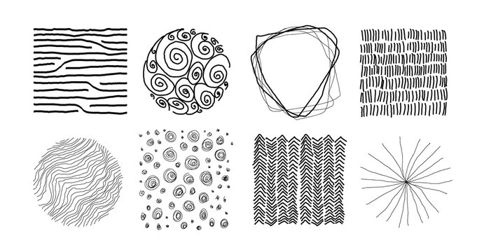 Set of abstract handmade black graphic elements, for decoration, invitations, print, posters, card, fabric. Random asymmetrical linear patterns. Line vector illustration. Isolated on white background.
