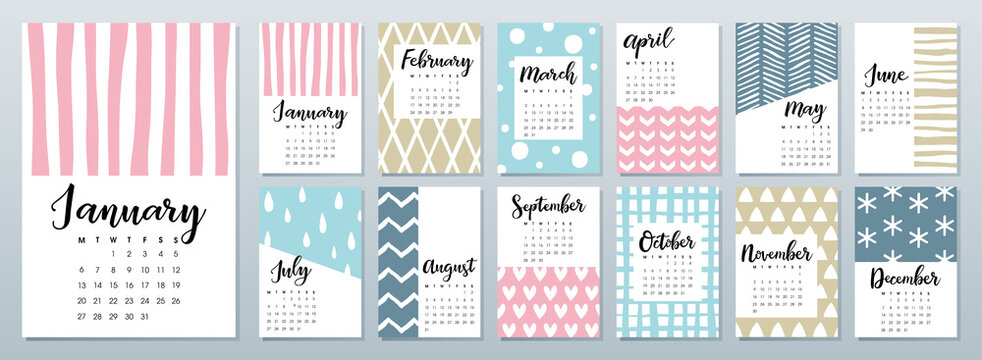 2020 calendar with calligraphy lettering on colorful pattern background.