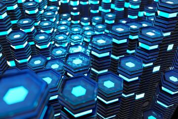 Metallic black and blue glowing hexagons moving pillars background 3D rendering