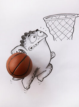 Doodle character is playing basketball .