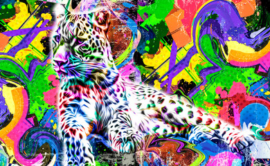 abstract background with colorful leopard