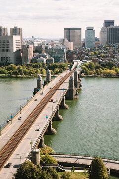 View of Boston from Cambridge, Massachusetts with Longfellow Bridge in Foreground