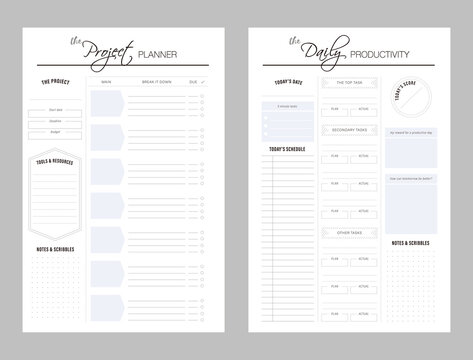 Set of project planner and daily productivity sheets. Clear and simple printable. Business organizer page.