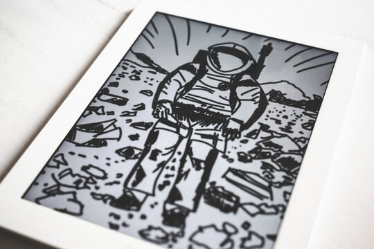 Digital drawing of an astronaut