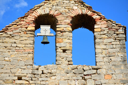 Old Spanish Church Made of Stone with a Bell