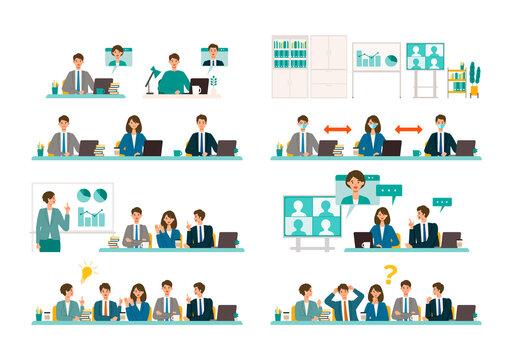 ミーティング、会議をする社会人のイラスト