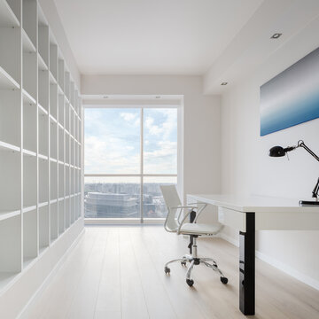 White home office with view