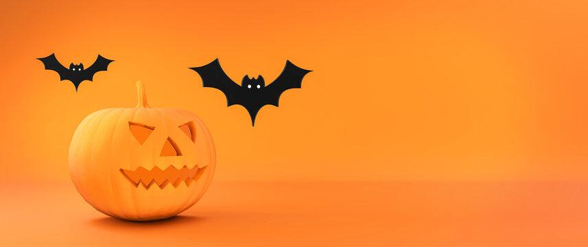 Halloween flat 3d background. Orange illustration for autumn celebration of halloween. Pumpkin and bats. 3D rendering.