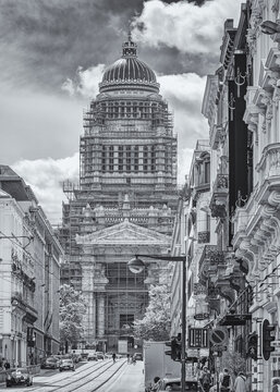 View onto Palace of Justice in Brussels with golden cupola in black and white
