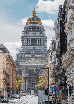 View onto Palace of Justice in Brussels with golden cupola