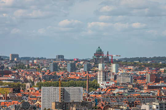 View from above city of Brussels with Basilica Sacré-Coeur and Koekelberg in the background