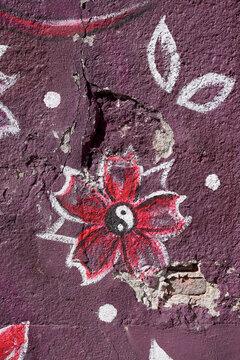 Yin yang lotus flower on damaged wall