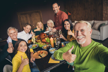 Full big family gather together on autumn fall holiday concept. Close up photo portrait of cheerful excited relatives enjoy thenksgiving dinner at the table tale selfie Papier Peint