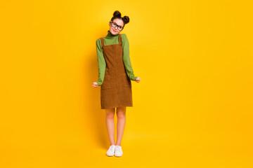Full length photo of pretty cute sweet girlish girl look copyspace feel shy wear green sweater...