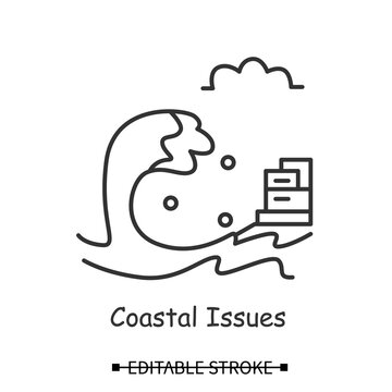 Tsunami icon. Big ocean wave and coastal city linear pictogram. Concept of natural disasters and hazards, climate changes and polar ice caps melting. Editable stroke vector illustration