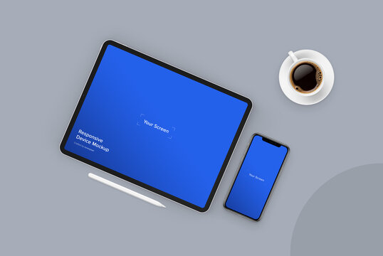 Tablet and Smartphone Mockup | Fully Editable File, Replaceable Screen, Separated Shadow and Background, Easy to Change Color