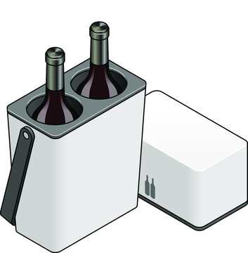 An insulated wine carrier Opened to show two red wine bottles.