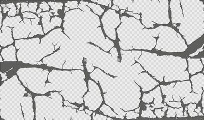 Wall cracks abstract pattern on transparent background. Vintage vector Papier Peint