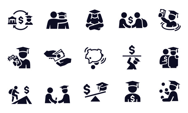Student Loan and Debt Icons vector design