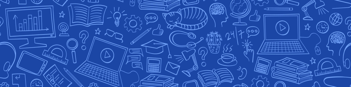 Online education seamless horizontal border. Internet learning doodles on blue background. Vector illustration.