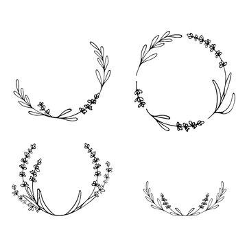 Set of Lavender flowers frames. Hand drawn wreaths. Botanical vector borders for your design. Logo and branding. Outline.