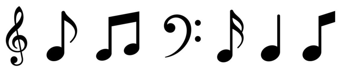 Music notes icons set. Note music. Vector illustration