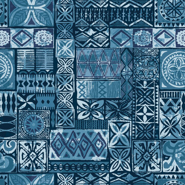 Hawaiian style blue tapa tribal fabric abstract patchwork vintage vector seamless pattern