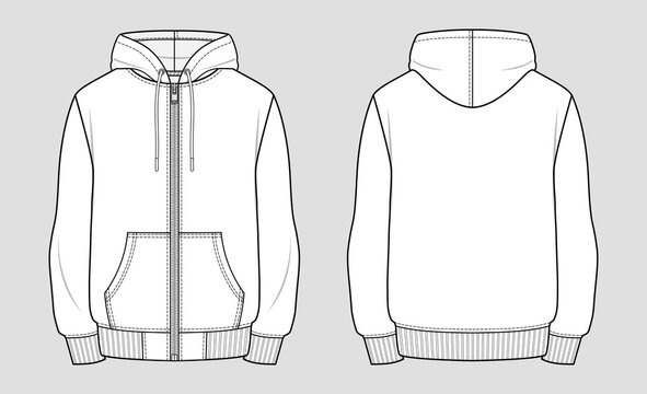 Hooded sweat jacket with zipper. Technical sketch of clothes. Fashion vector illustration