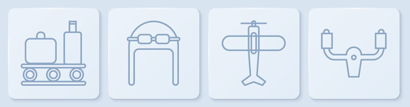 Set line Airport conveyor belt with suitcase, Plane, Aviator hat with goggles and Aircraft steering helm. White square button. Vector.