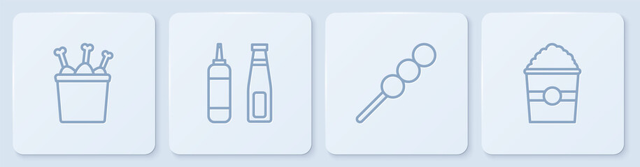 Set line Chicken leg in package box, Meatballs on wooden stick, Sauce bottle and Popcorn. White square button. Vector.