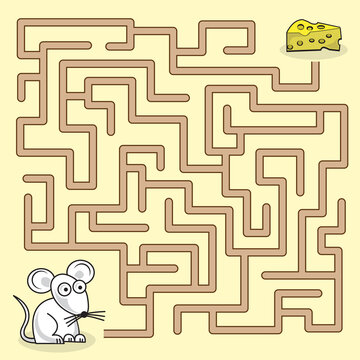 Maze game with mouse and a piece of cheese.