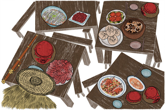Illustration of Chinese food and drink in martial arts movies. The dishes are placed on the table, from the top view.
