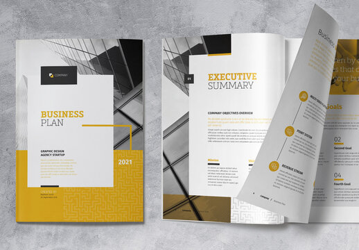 Business Plan Brochure with Yellow Accents