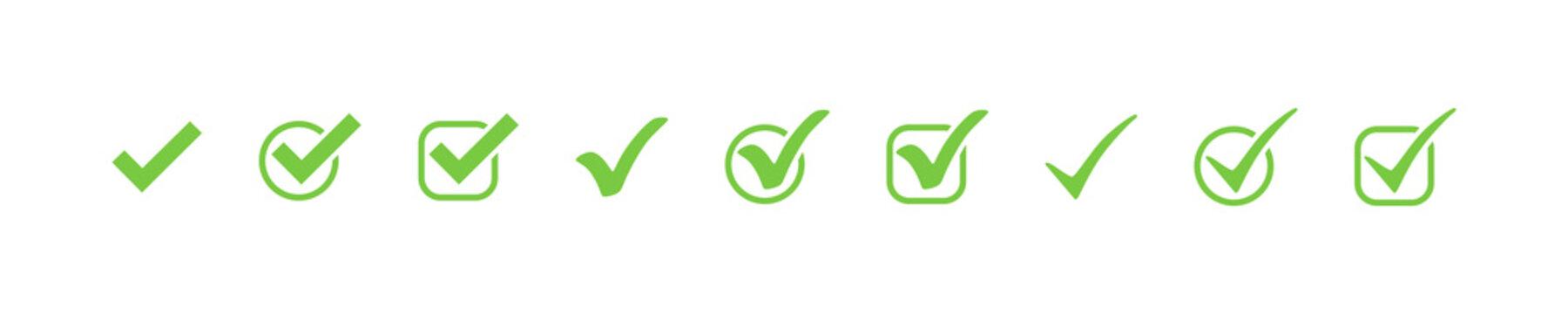 Check marks. Check mark green vector icons, isolated. Simple check marks. Checklist symbols. Vector illustration