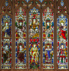 LONDON, GREAT BRITAIN - SEPTEMBER 17, 2017: The main altar and the stained glass in church St. Michael, Chester square (end of f19. cent.).