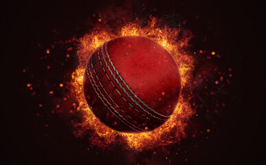 Flying cricket ball in burning flames close up on dark brown background. Classical sport equipment as conceptual 3D illustration.