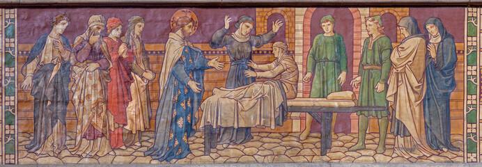 LONDON, GREAT BRITAIN - SEPTEMBER 15, 2017: The fresco Raising of Jairus Daughter in the chruch Saint Augustine's, Kilburn from end of 19. cent.
