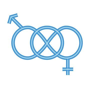 sexual orientation concept, polyamor symbol icon, neon style