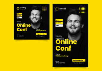 Online Conference Social Media Post Layout with Yellow Accents