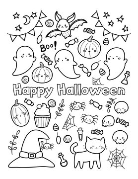 Happy Halloween coloring page for children. Cute doodle pumpkins, ghost, bats, sweets and cats. Kawaii cartoon characters.