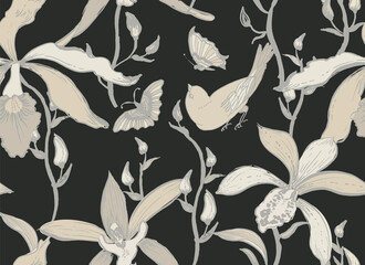 Vector seamless pattern with orchid flowers, birds and butterflies.