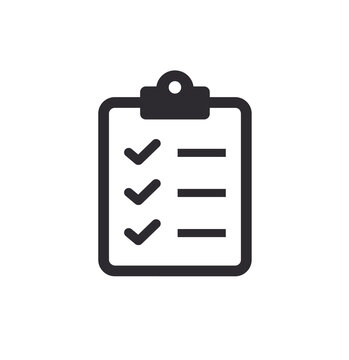 Tasks. Vector icon. Clipboard - vector icon. Clipboard icon. Task done. Signed approved document icon. Project completed. Check Mark sign. Worksheet sign. Vector illustration.